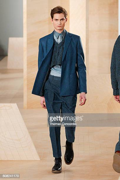 A model walks the runway wearing Perry Ellis during New York Fashion Week Men's Fall/Winter 2016 at Skylight at Clarkson Sq on February 3 2016 in New...