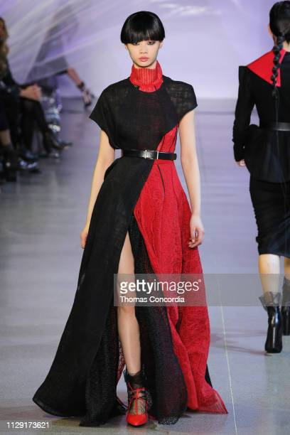 A model walks the runway wearing Phuong My Fall 2019 at Gallery II at Spring Studios on February 12 2019 in New York City