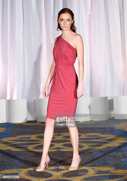 A model walks the runway wearing Pia Gladys Perey at the Pia Gladys Perey Spring/Summer 2016 Fashion Show at Sofitel Hotel on October 23 2015 in Los...