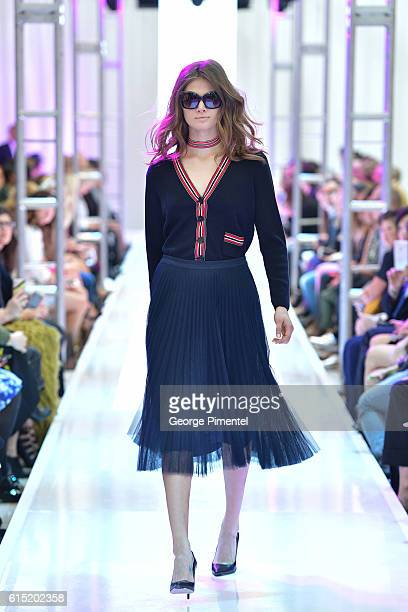 A model walks the runway wearing Pink Tartan Spring and Summer 2017 collection during FashionCAN at Yorkdale Shopping Centre on October 17 2016 in...