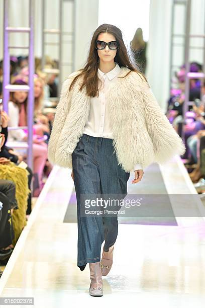 Model walks the runway wearing Pink Tartan Spring and Summer 2017 collection during FashionCAN at Yorkdale Shopping Centre on October 17, 2016 in...