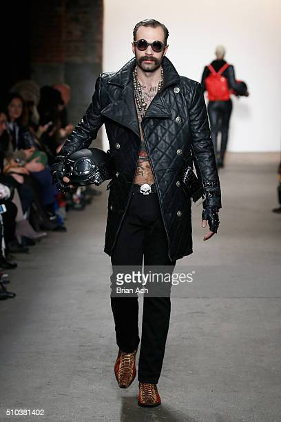 A model walks the runway wearing Planet Zero Motorsports at Nolcha shows during New York Fashion Week Women's Fall/Winter 2016 presented by Neogrid...