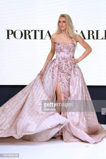 Model walks the runway wearing Portia & Scarlett Couture during NYFW Powered By hiTechMODA on February 08, 2020 in New York City.