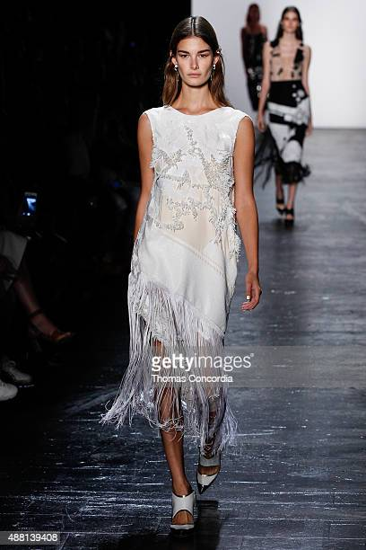 Model walks the runway wearing Prabal Gurung Spring 2016 during New York Fashion Week: The Shows at The Arc, Skylight at Moynihan Station on...