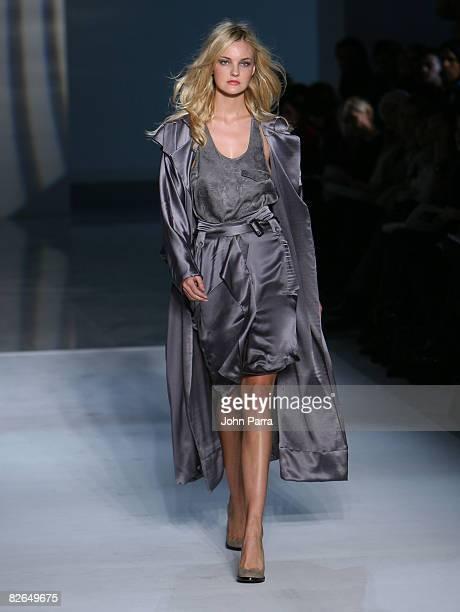 A model walks the runway wearing Preen Fall 2008 during MercedesBenz Fashion Week Fall 2008 at Espace on February 3 2008 in New York City