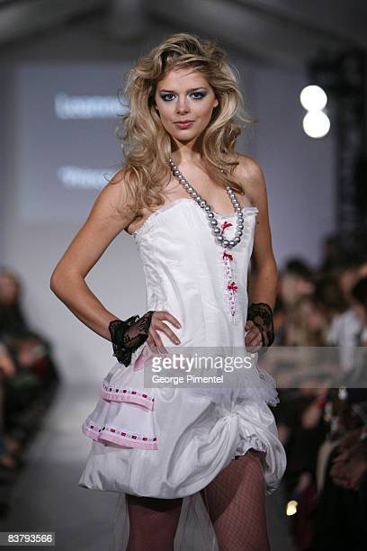 A model walks the runway wearing Princess Quirky's Spring 2009 Collection at L'Oreal Toronto Fashion Week on October 24 2008 at Nathan Phillips...