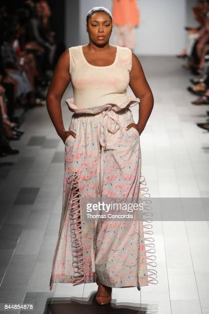 A model walks the runway wearing project runway design at Gallery 1 Skylight Clarkson Sq on September 8 2017 in New York City