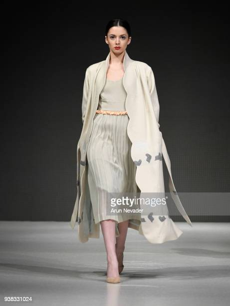 Model walks the runway wearing PYT at 2018 Vancouver Fashion Week - Day 4 on March 22, 2018 in Vancouver, Canada.