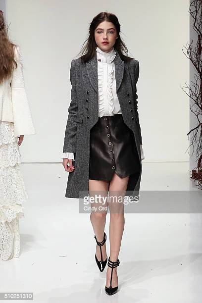 A model walks the runway wearing Rachel Zoe Fall 2016 during New York Fashion Week The Shows at The Space Skylight at Clarkson Sq on February 14 2016...