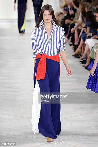 Model walks the runway wearing Ralph Lauren Spring 2016 during New York Fashion Week: The Shows at Skylight Clarkson Sq on September 17, 2015 in New...