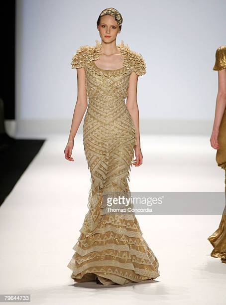 A model walks the runway wearing Rami Kashou for Project Runway Season 4 collections during MercedesBenz Fashion Week Fall 2008 at The Tent Bryant...