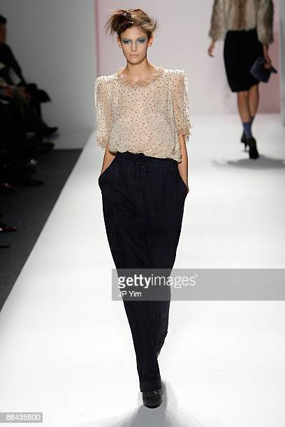 A model walks the runway wearing Rebecca Taylor Fall 2009 during MercedesBenz Fashion Week at The Salon in Bryant Park on February 19 2009 in New...