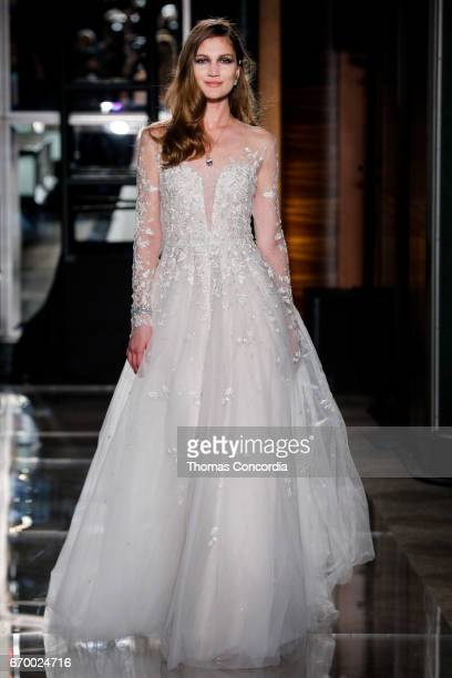 A model walks the runway wearing Reem Acra at Tiffany Co on April 18 2017 in New York City