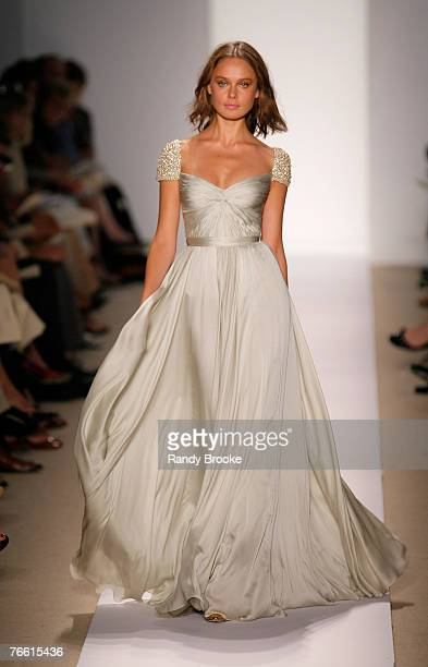 Model walks the runway wearing Reem Acra Spring 2008 during Mercedes-Benz Fashion Week at the Pomenade, Bryant Park on September 9, 2008 in New York...