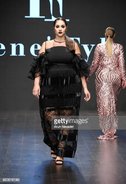 Model walks the runway wearing Rene' Tyler at Los Angeles Fashion Week Powered by Art Hearts Fashion LAFW FW/18 10th Season Anniversary at The...