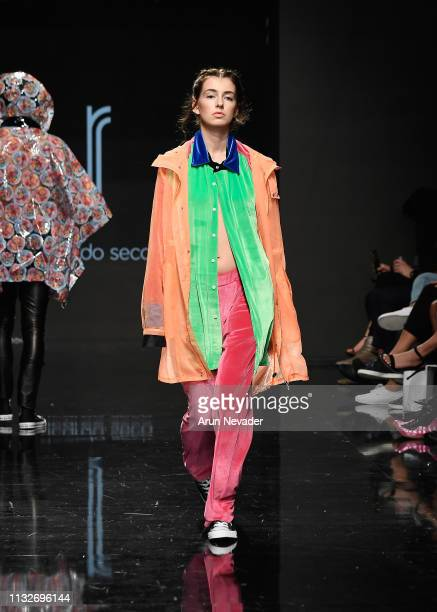 A model walks the runway wearing Ricardo Seco at Los Angeles Fashion Week FW/19 Powered by Art Hearts Fashion at The Majestic Downtown on March 24...
