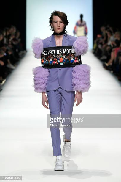 A model walks the runway wearing Rich at the MercedesBenz presents Fashion Talents from South Africa show during Berlin Fashion Week Autumn/Winter...