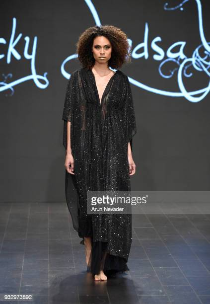 A model walks the runway wearing Ricky Lindsay at Los Angeles Fashion Week Powered by Art Hearts Fashion LAFW FW/18 10th Season Anniversary at The...