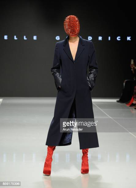 A model walks the runway wearing Rochelle Goodrick at Los Angeles Fashion Week SS18 Art Hearts Fashion LAFW on October 8 2017 in Los Angeles...