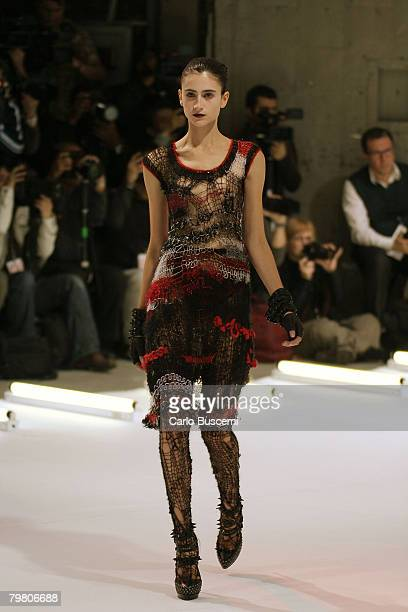 A model walks the runway wearing Rodarte Fall 2008 during MercedesBenz Fashion Week at 544 West 22nd street on February 5 2008 in New York City