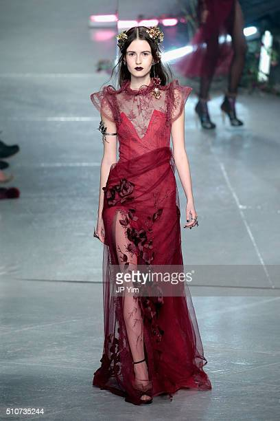 A model walks the runway wearing Rodarte Fall 2016 during New York Fashion Week on February 16 2016 in New York City
