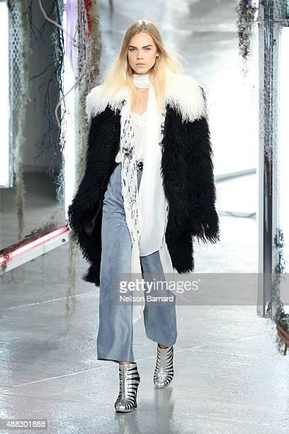 A model walks the runway wearing Rodarte S/S 2016 and Kerastase Paris during New York Fashion Week at Center 548 on September 15 2015 in New York City