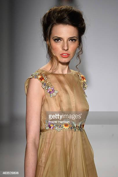 A model walks the runway wearing Rozalia Bot collection at the FTL Moda fashion show during MercedesBenz Fashion Week Fall 2015 at The Salon at...