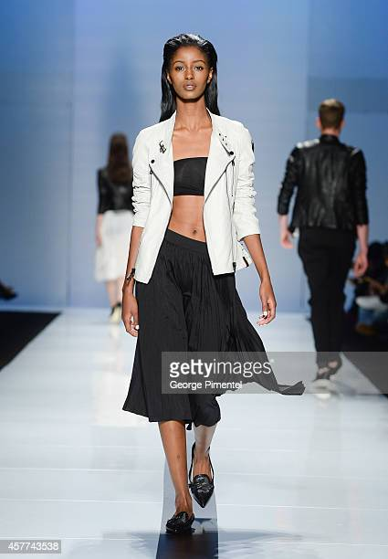 Model walks the runway wearing Rudsak spring 2015 collection during World MasterCard Fashion Week Spring 2015 at David Pecaut Square on October 23,...