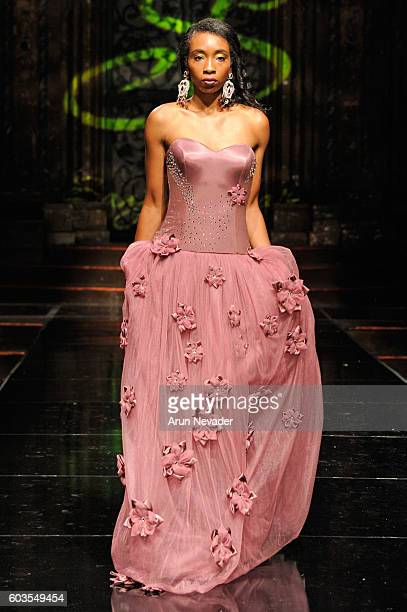 A model walks the runway wearing Sanja Bobar at Art Hearts Fashion NYFW The Shows presented by AIDS Healthcare Foundation at The Angel Orensanz...