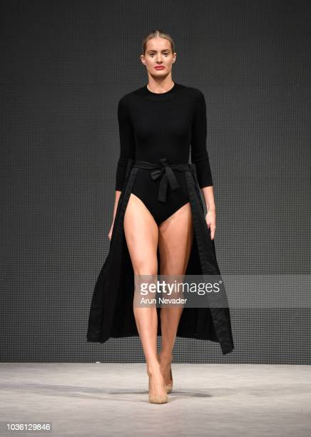 A model walks the runway wearing Sarah Runnalls Collection at Vancouver Fashion Week Spring/Summer 19 Day 2 on September 18 2018 in Vancouver Canada
