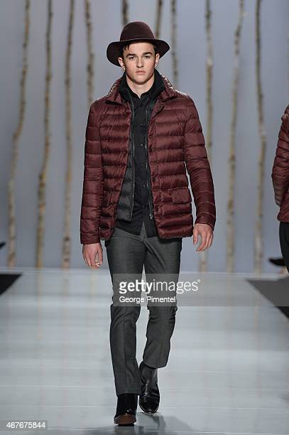 A model walks the runway wearing Soia Kyo fall 2015 collection during World MasterCard Fashion Week Fall 2015 at David Pecaut Square on March 26 2015...