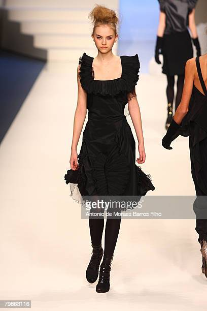 Model walks the runway wearing Sportmax Fall 2008 during Milan Fashion Week Fall/Winter 2008/09 on February 19, 2008 in Milan, Italy.