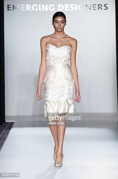 A model walks the runway wearing Stefane Myles at the Emerging Designers show during Fall 2016 New York Fashion Week on February 13 2016 in New York...