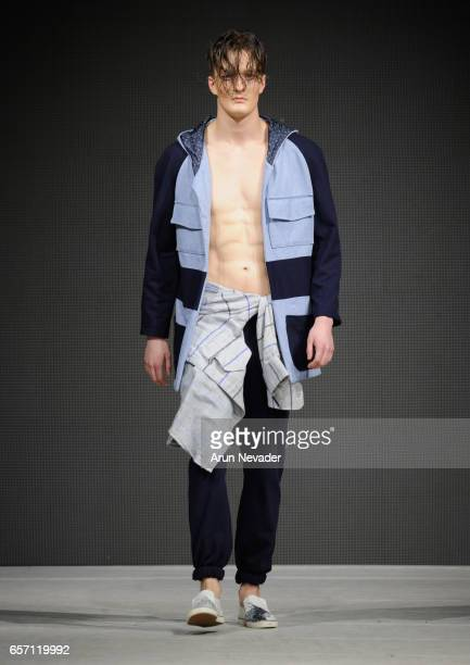 Model walks the runway wearing Stefano Giammattei at Vancouver Fashion Week Fall/Winter 2017 at Chinese Cultural Centre of Greater Vancouver on March...