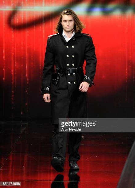 A model walks the runway wearing Stello at Art Hearts Fashion LAFW Fall/Winter 2017 Day 3 at The Beverly Hilton Hotel on March 16 2017 in Beverly...