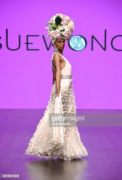 A model walks the runway wearing Sue Wong at Los Angeles Fashion Week Powered by Art Hearts Fashion LAFW FW/18 10th Season Anniversary at The...