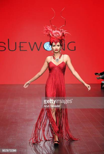 A model walks the runway wearing Sue Wong at Los Angeles Fashion Week Powered by Art Hearts Fashion LAFW FW/18 10th Season Anniversary at The...