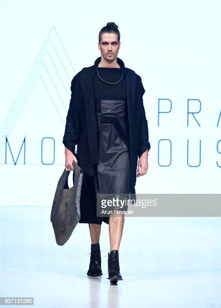 A model walks the runway wearing Supramorphous at 2018 Vancouver Fashion Week Day 3 on March 21 2018 in Vancouver Canada