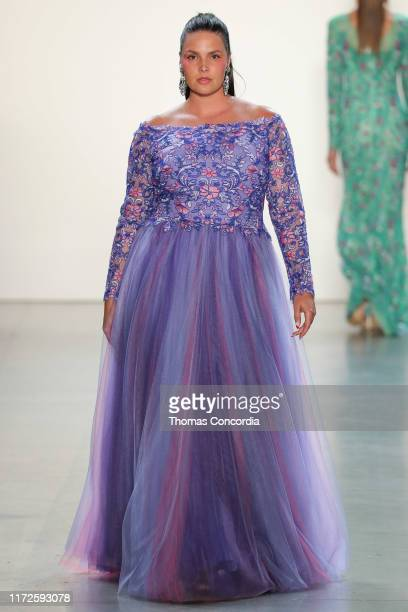 A model walks the runway wearing Tadashi Shoji Spring 2020 at Gallery I at Spring Studios on September 05 2019 in New York City