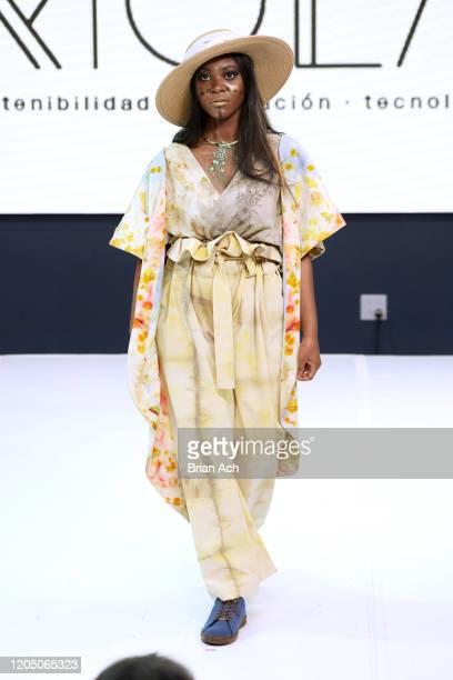 Model walks the runway wearing TARPUI during NYFW Powered By hiTechMODA on February 08, 2020 in New York City.
