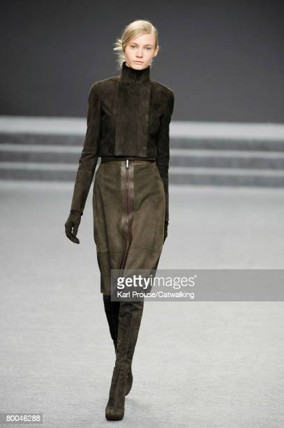 Model walks the runway wearing the Akris Fall/Winter 2008/2009 collection during Paris Fashion Week on the 27th of February 2008 in Paris,France.