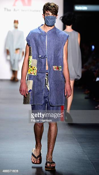 A model walks the runway wearing The Art Institutes Spring 2016 during New York Fashion Week The Shows at The Dock Skylight at Moynihan Station on...