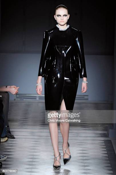 A model walks the runway wearing the Balenciaga Fall/Winter 2008/2009 collection during Paris Fashion Week on the 26th of February 2008 in ParisFrance
