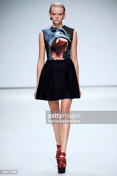 A model walks the runway wearing the Christopher Kane Spring/Summer 2008/2009 collection during London Fashion Week on September 16 2008 in London...