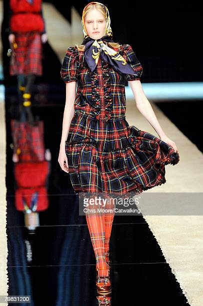 Model walks the runway wearing the D&G Fall/Winter 2008/2009 collection during Milan Fashion Week on the 18th of February 2008 in Milan, Italy.