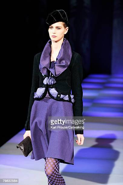 Model walks the runway wearing the Emporio Armani Fall/Winter 2008/2009 collection during Milan Fashion Week on the 17th of February 2008 in Milan,...