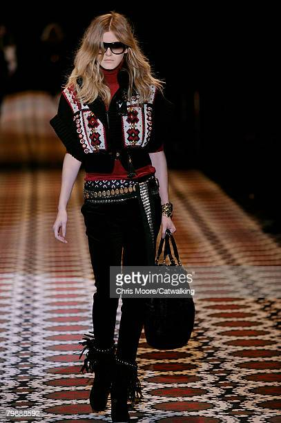 Model walks the runway wearing the Gucci Fall/Winter 2008/2009 collection during Milan Fashion Week on the 20th of February 2008 in Milan, Italy.