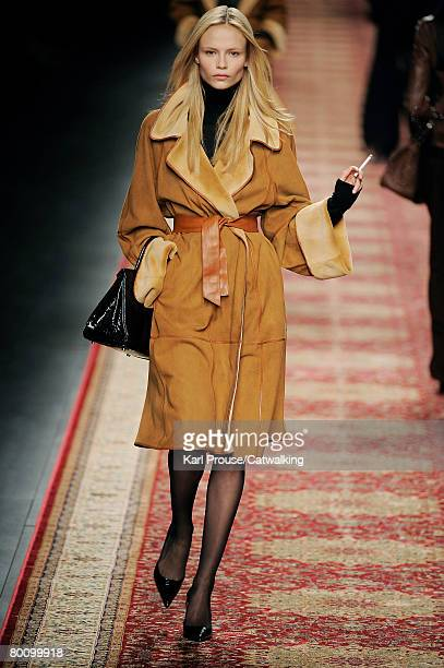 Model walks the runway wearing the Hermes Fall/Winter 2008/2009 collection during Paris Fashion Week on the 1st of March 2008 in Paris,France.
