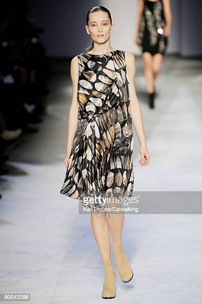 Model walks the runway wearing the Hussein Chalayan Fall/Winter 2008/2009 collection during Paris Fashion Week on the 26th of February 2008 in...