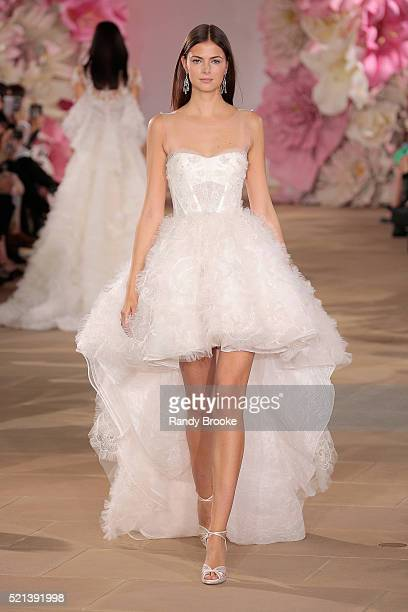 Model walks the runway wearing the Ines Di Santo Bridal Collection Spring 2017 on April 15, 2016 in New York City.